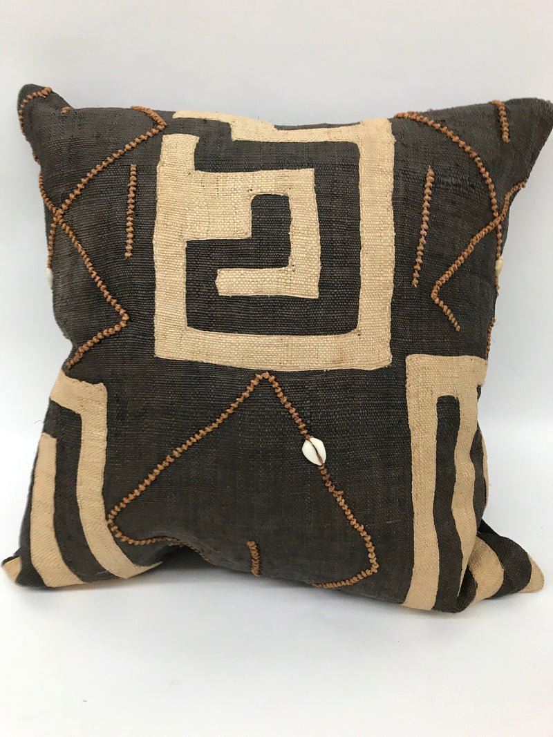 Pillows, Vintage Kuba Fabric, Down Feather Fill