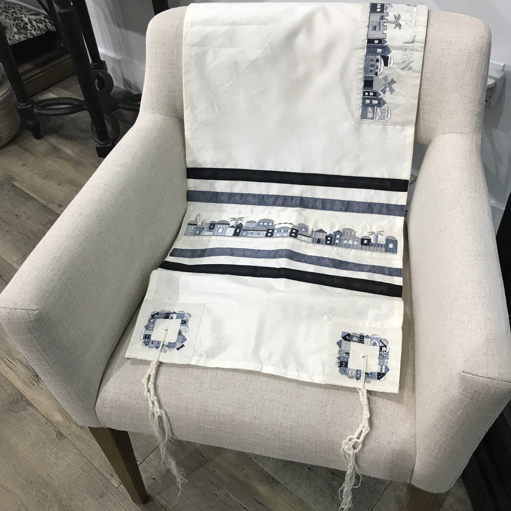 Tallit, Jerusalem Blue Skyline Includes a Kippah and Tallit Bag