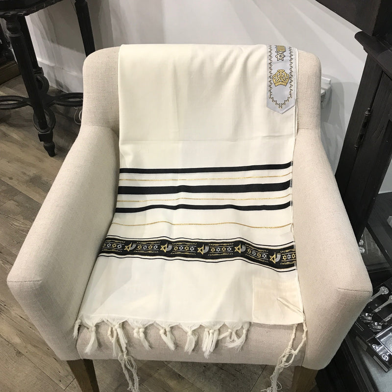 Tallit,  Wool Magen David in Black and Gold. 24''x 72''