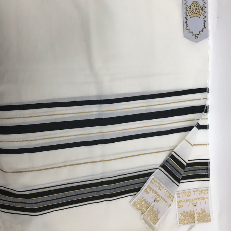 Tallit, Black and  Gold  Stripes 24'' x 72''