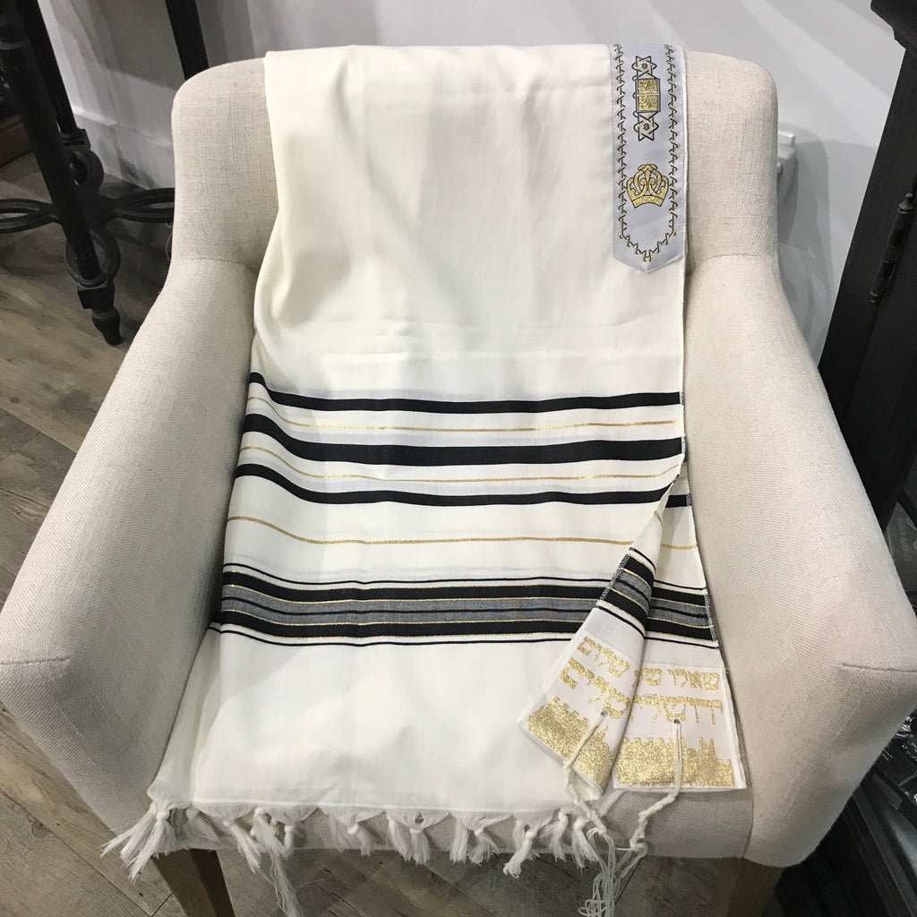 Tallit, 100% Wool Tallit,  Black  and Gold.  24 x 72