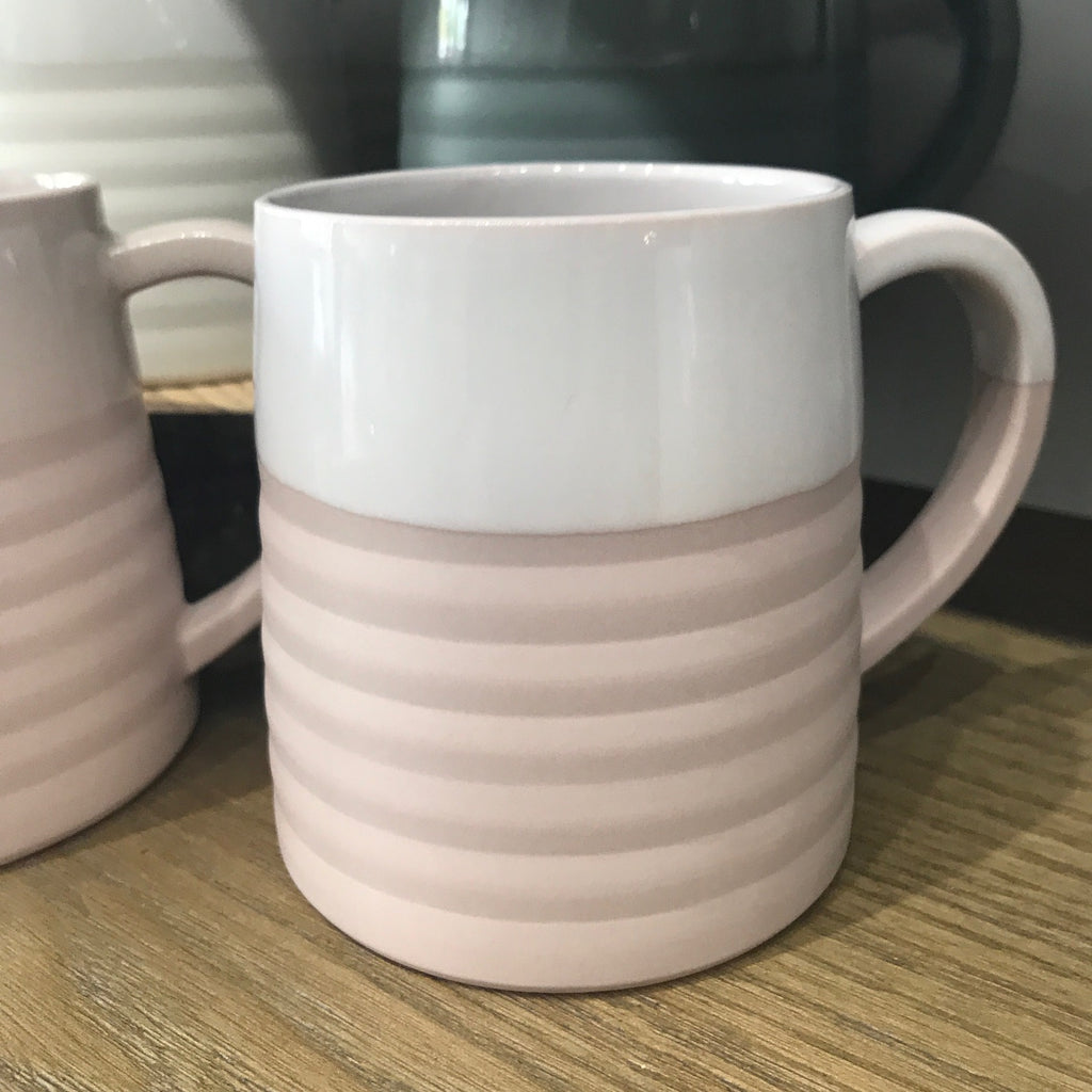 Hand made Porcelain Blush 12oz  Accordion Mug