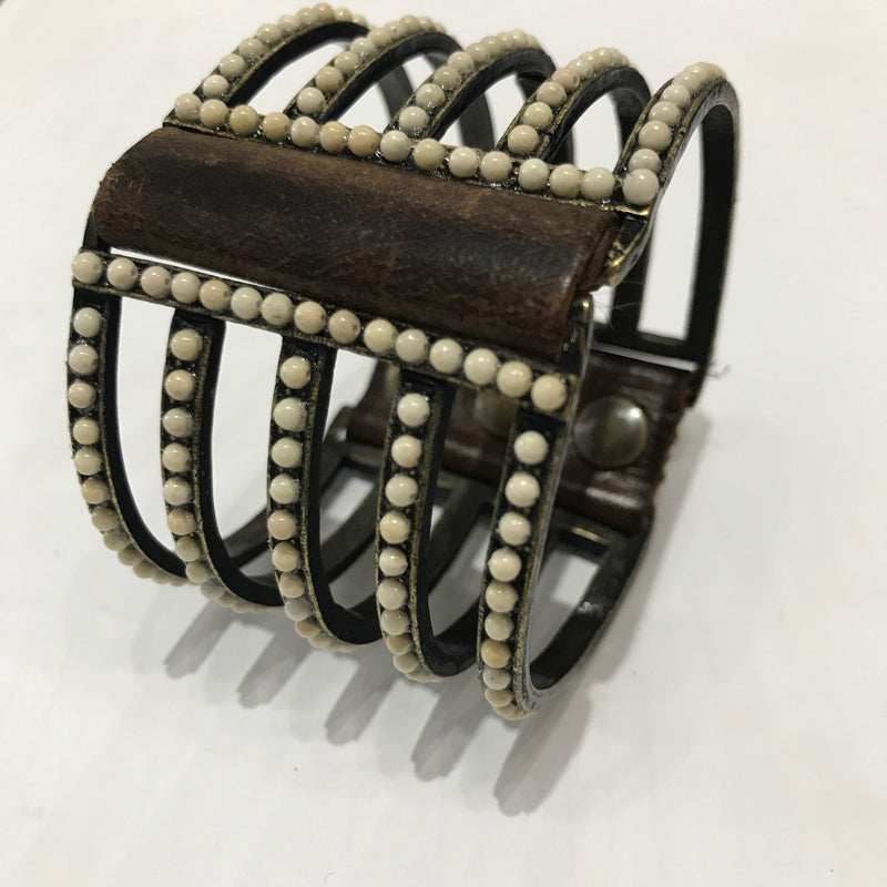 Bracelet,Large Double sided  Cuff with Tumbled Pearls