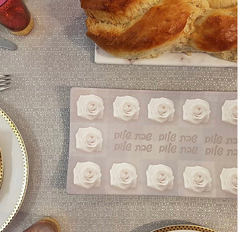 Grey Square Rose Challah Tray
