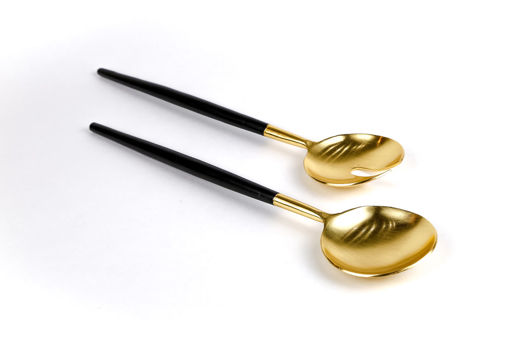 Serving, Black & Gold Salad Servers 10.5''