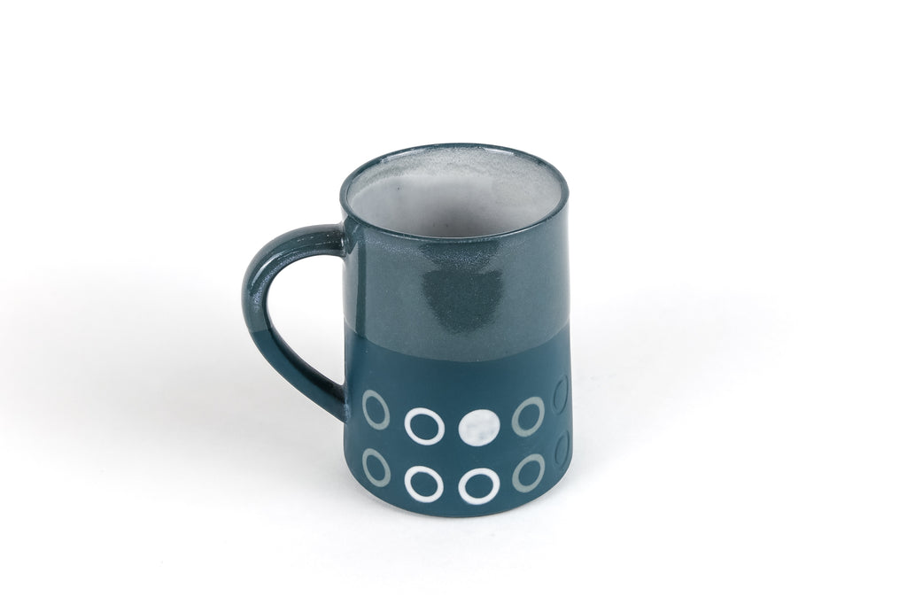Porcelain Dark Teal 12 oz Graphic Taper Mug
