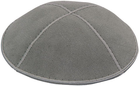 Suede Kippah, Dark Grey