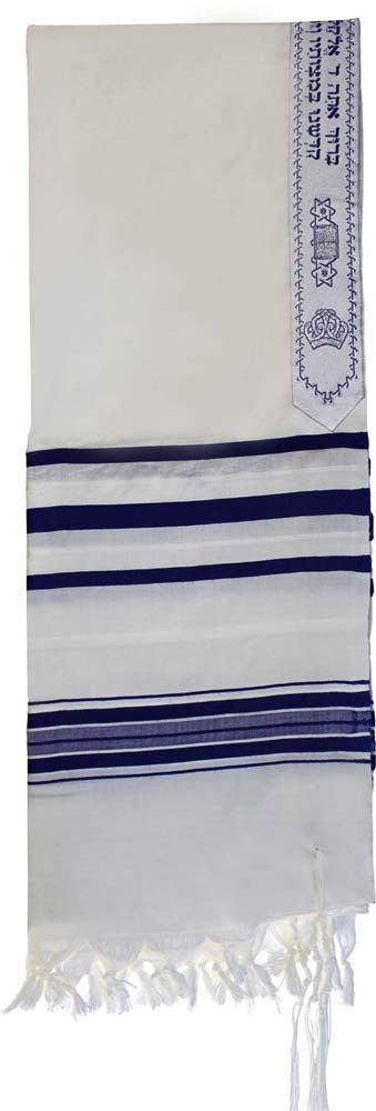 Tallit , 100 % Wool Traditional Blue  and Silver 18 x 72