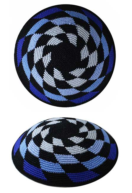Knit Kippah, Blue block pattern