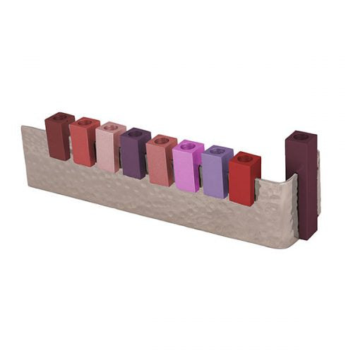 L Shaped Maroon Tones Menorah