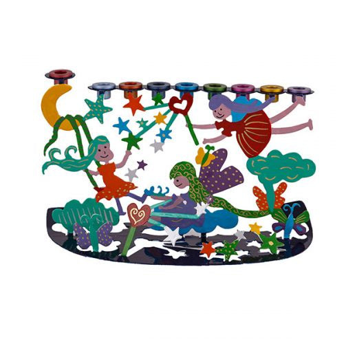 Hand Painted  Menorah, Fairies