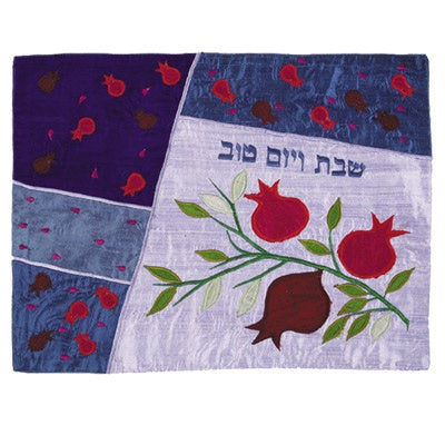 Challah Cover-Raw Silk,Pomegranates Blue