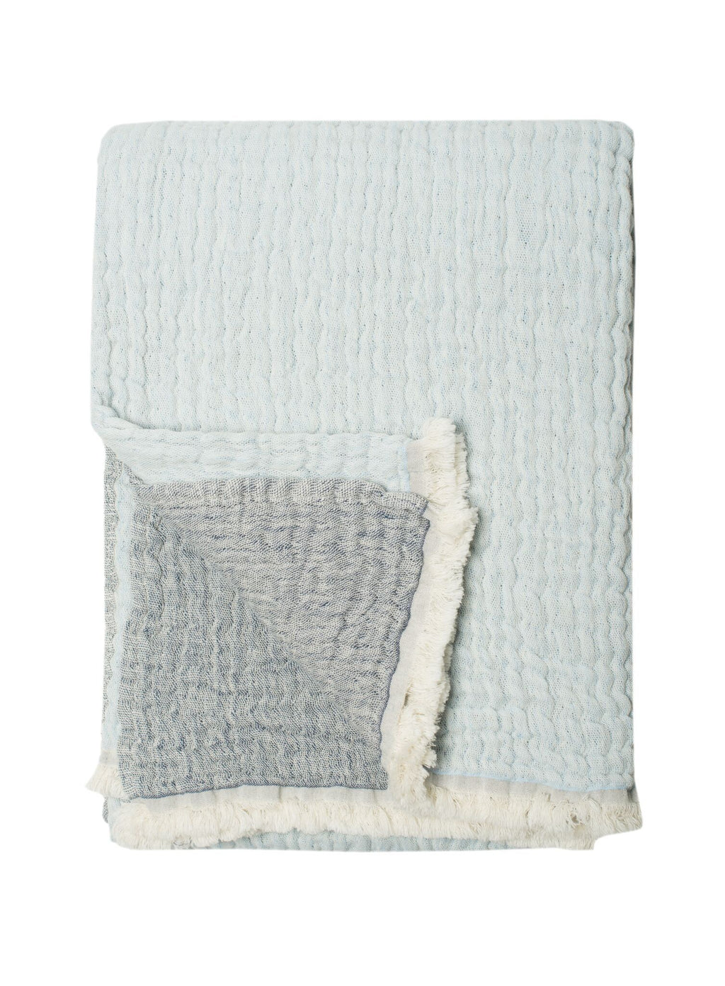100% Stonewashed Cotton  Dora Throw, Blue