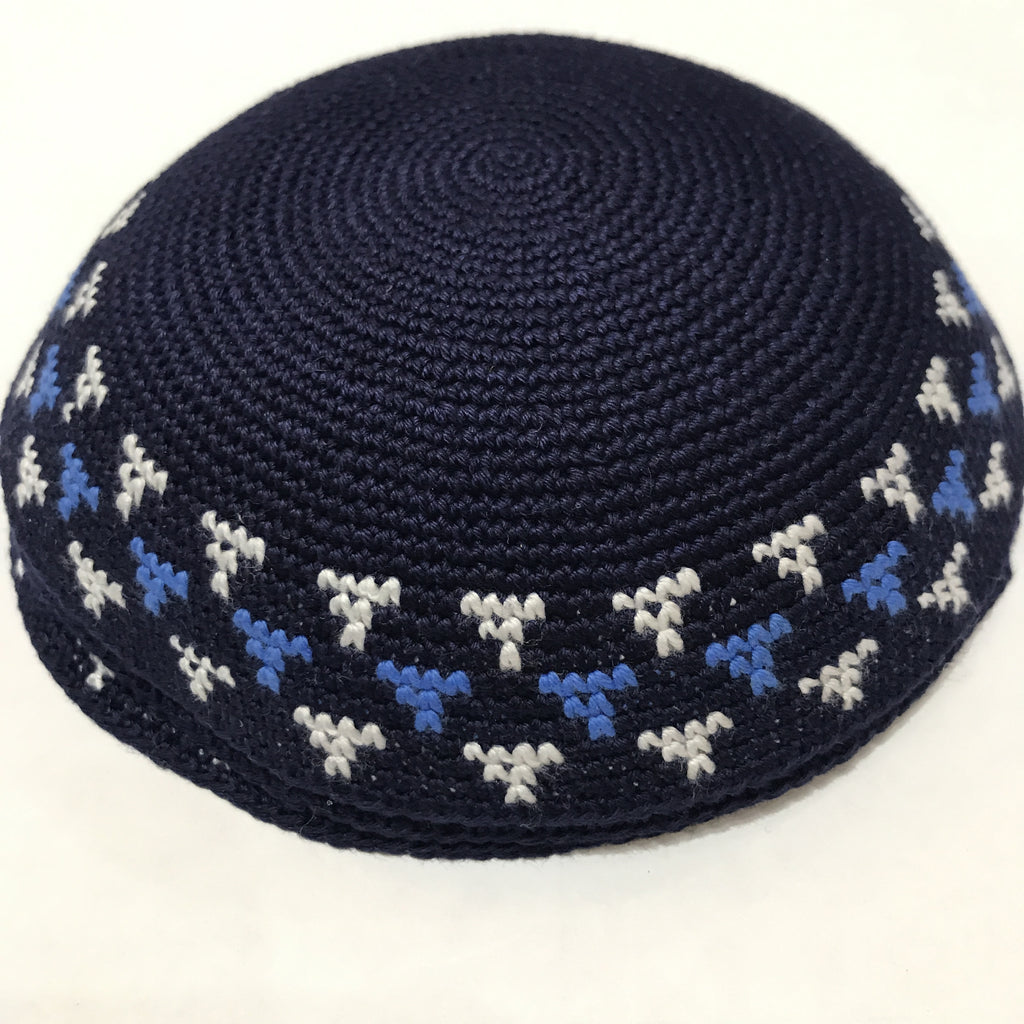 Knit Kippah, with Royal and White motiv
