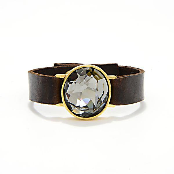 18kt Gold Plate large Swarovski Black Diamond