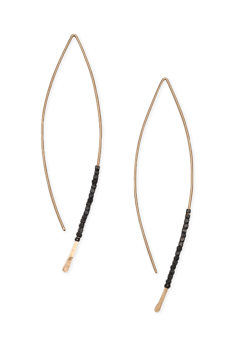 Earring, Medium Crescent  14kt Gold Filled with Black oxidized beads