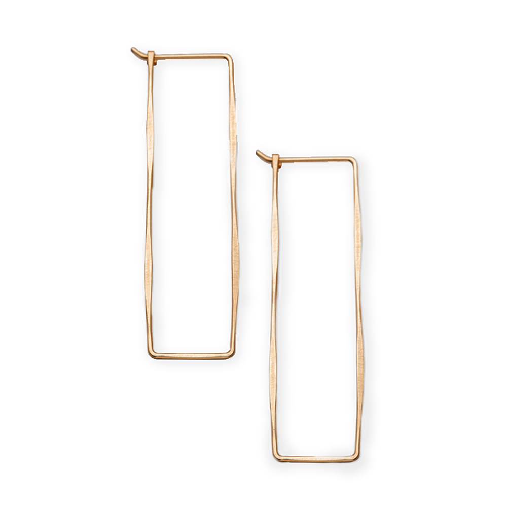 Earring , Rectangle Hoop 14kt Gold Filled Yellow Gold