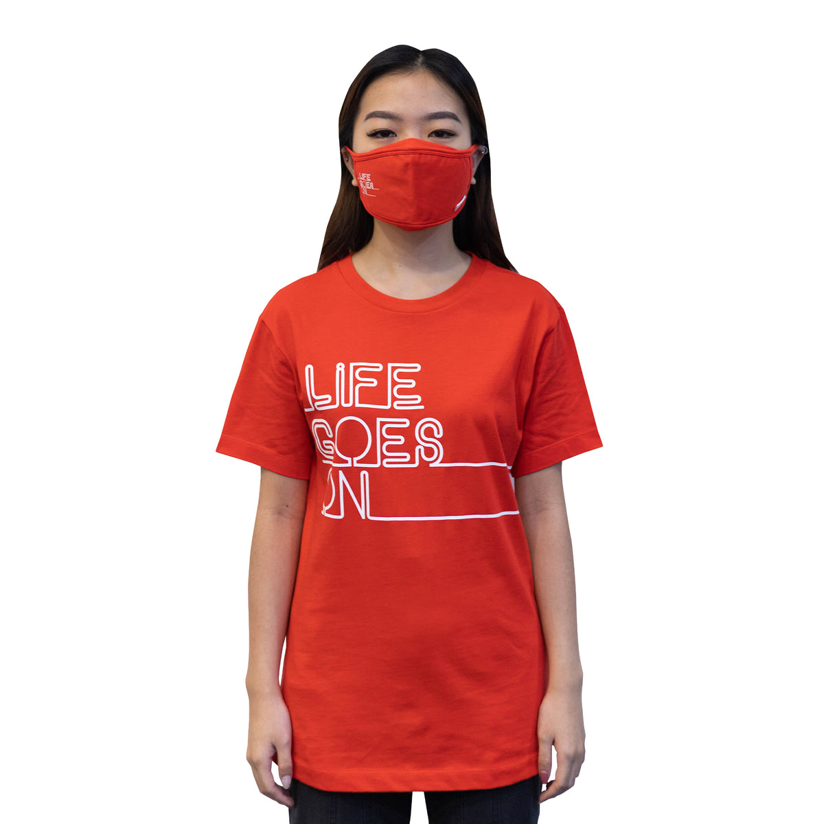 ULTRA A Anti-Bacterial Unisex Tee + 3-Ply Anti-Bacterial Mask Co-Ord Set (Life Goes On - Adults)