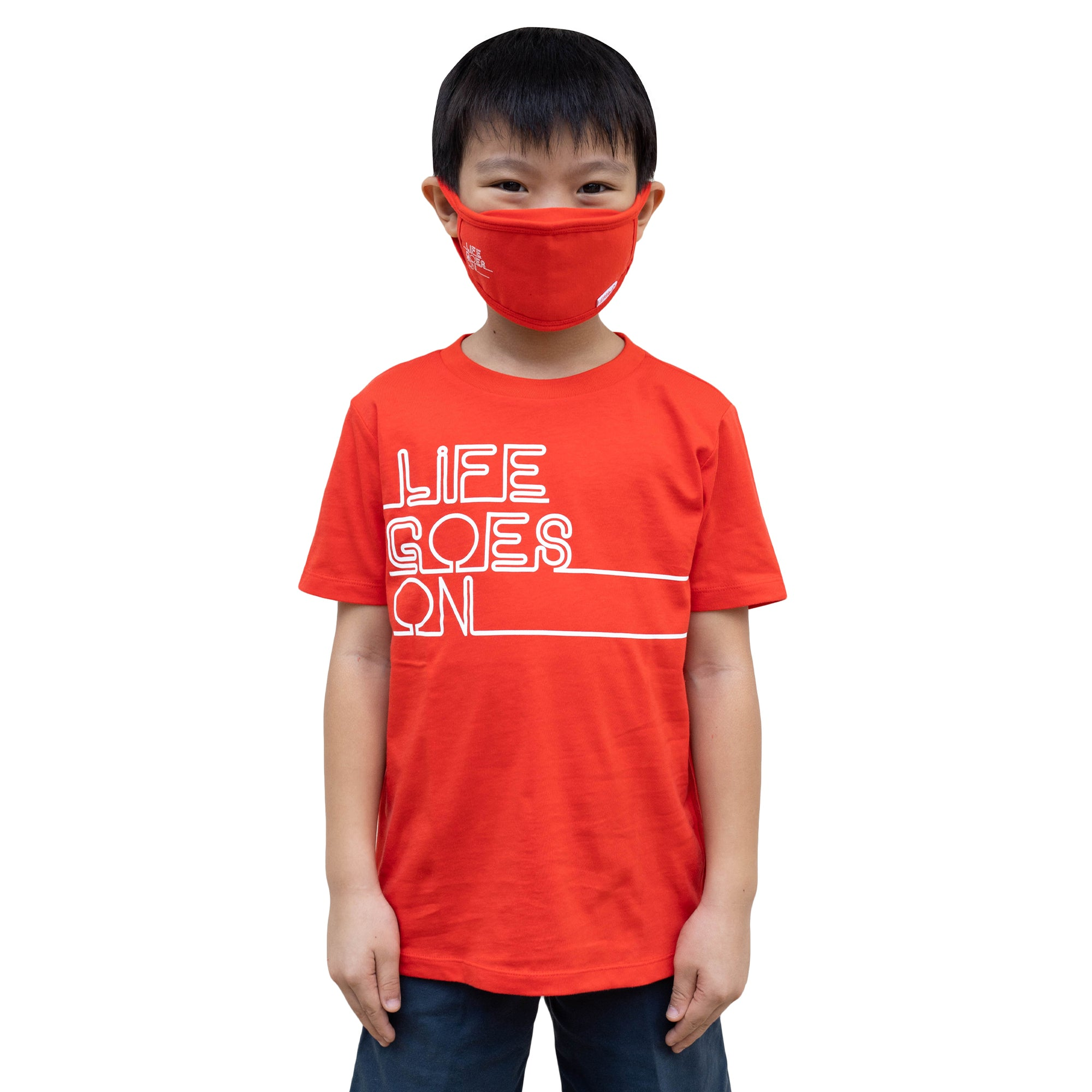ULTRA A Anti-Bacterial Tee + 3-Ply Anti-Bacterial Mask Co-Ord Set (Life Goes On - Kids)
