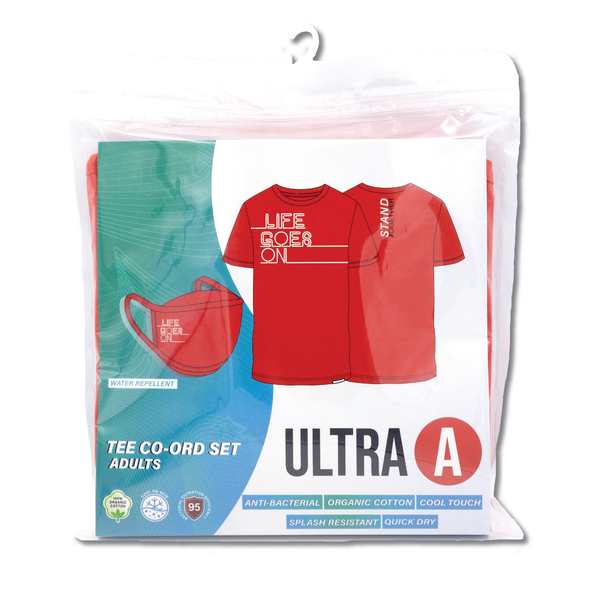 Anti-Bacterial Unisex Tee + 3-Ply Anti-Bacterial Mask Co-Ord Set (Life Goes On - Adults)
