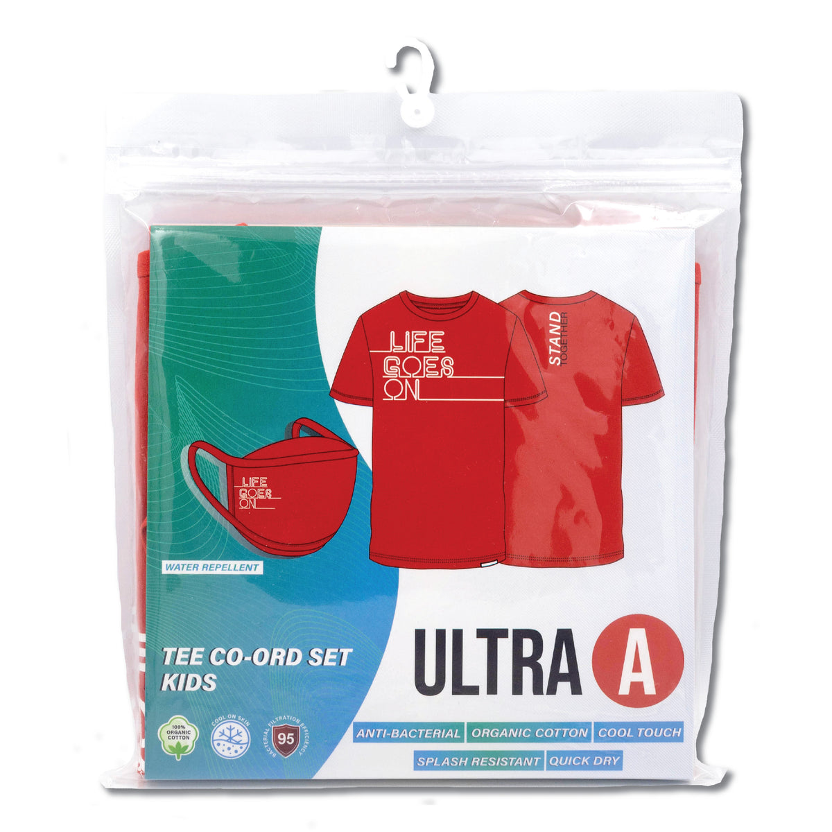 Anti-Bacterial Tee + 3-Ply Anti-Bacterial Mask Co-Ord Set (Life Goes On - Kids)