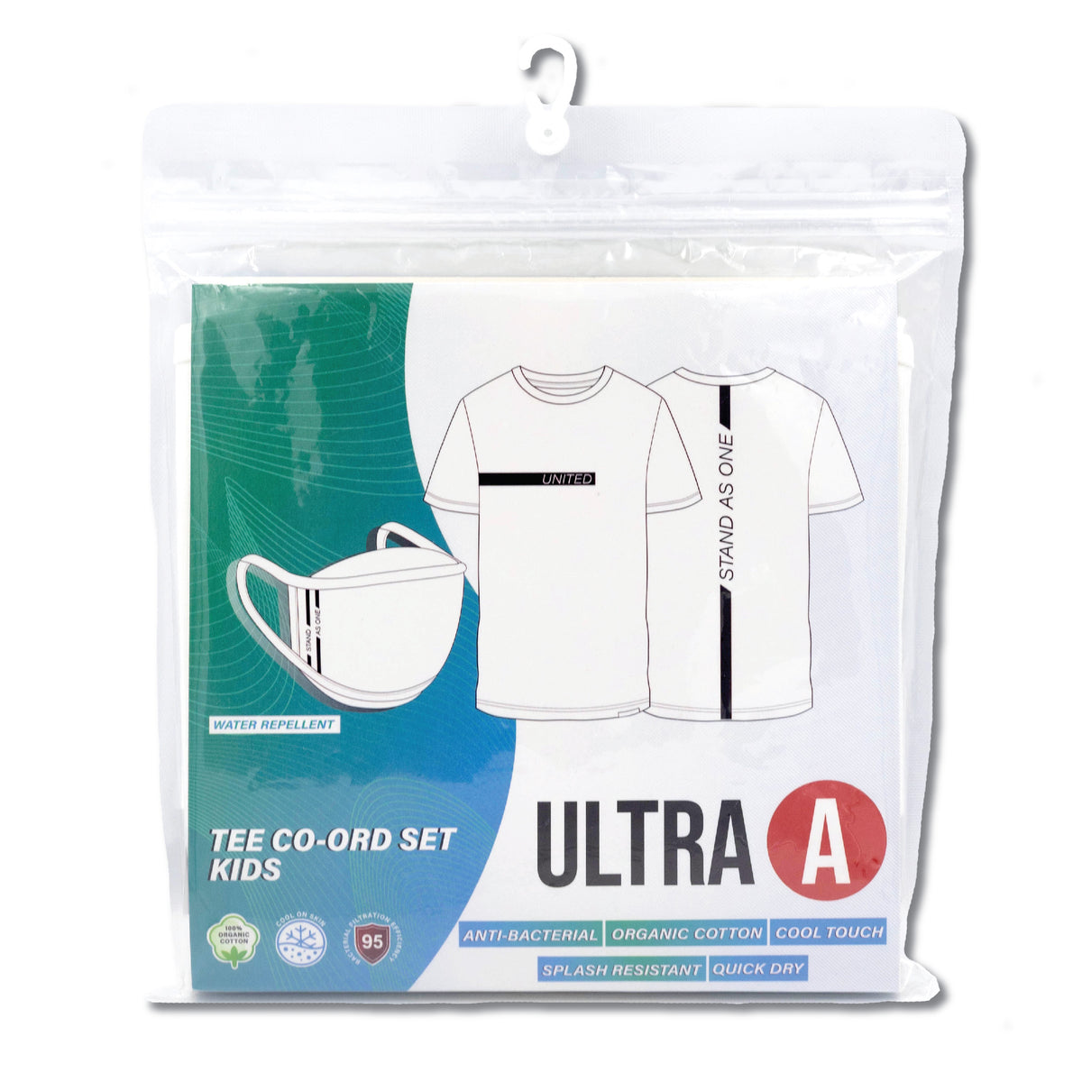 Anti-Bacterial Tee + 3-Ply Anti-Bacterial Mask Co-Ord Set (United Stand As One - Kids)