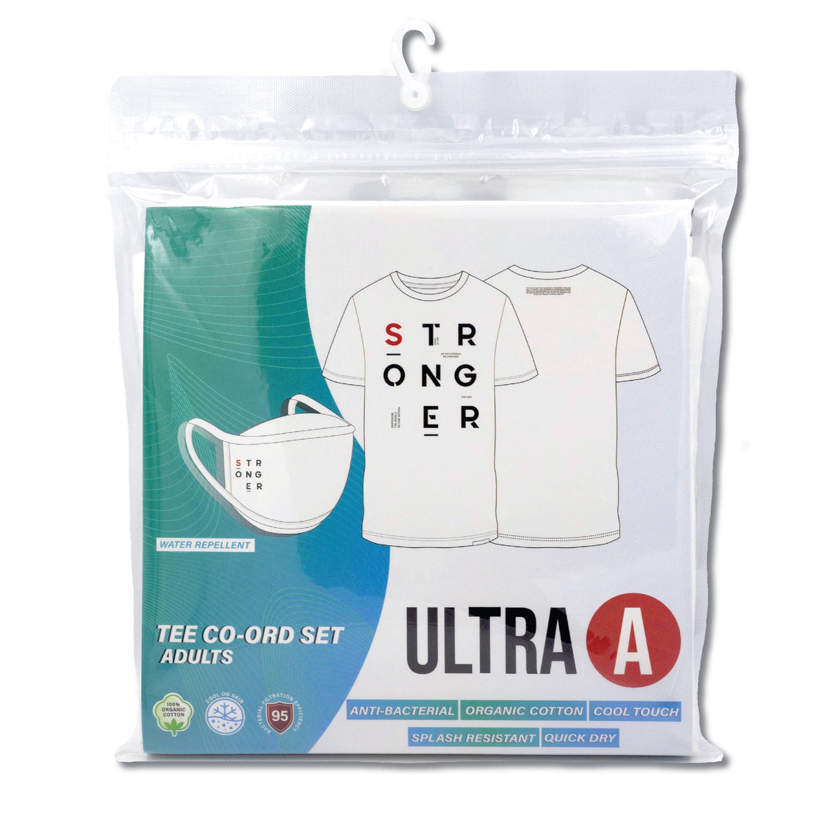Anti-Bacterial Unisex Tee + 3-Ply Anti-Bacterial Mask Co-Ord Set (Stronger - Adults)