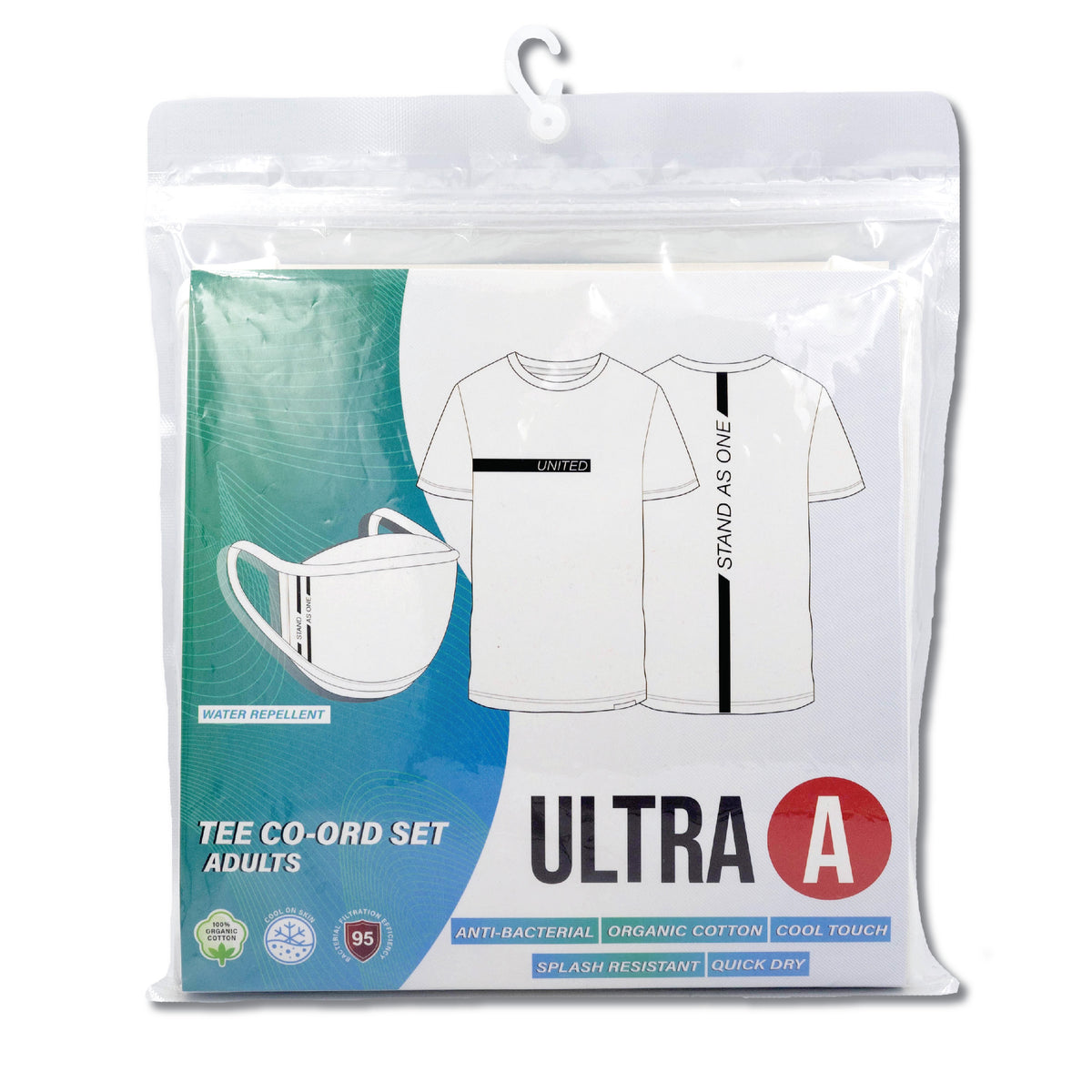 Anti-Bacterial Unisex Tee + 3-Ply Anti-Bacterial Mask Co-Ord Set (United Stand As One - Adults)