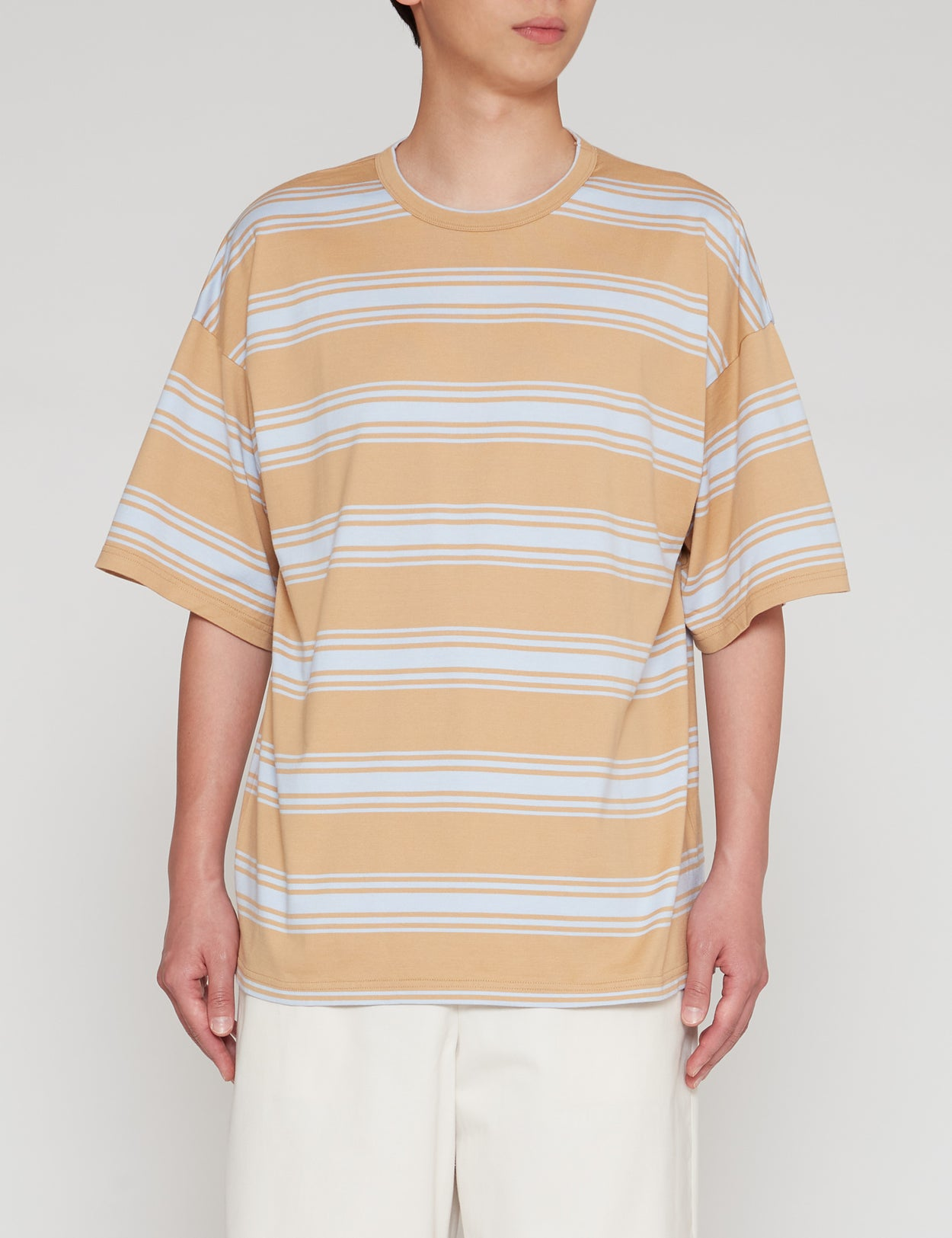 BEIGE STRIPED WIDE FIT T-SHIRT
