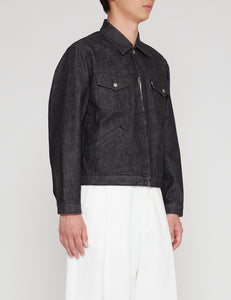 BIO BLACK 877Z DENIM TRACKER ZIP JACKET