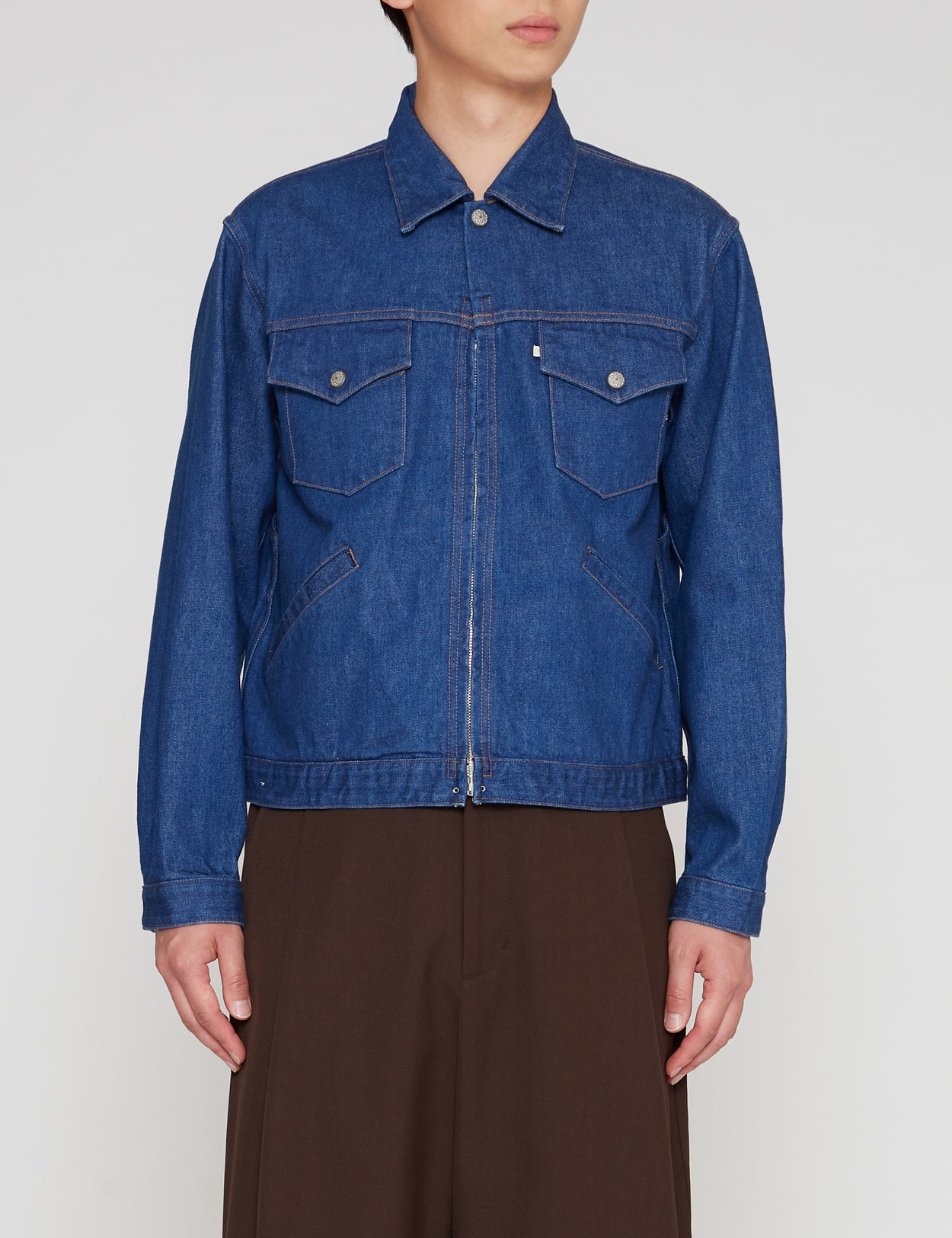 ONE WASH 877Z DENIM TRACKER ZIP JACKET