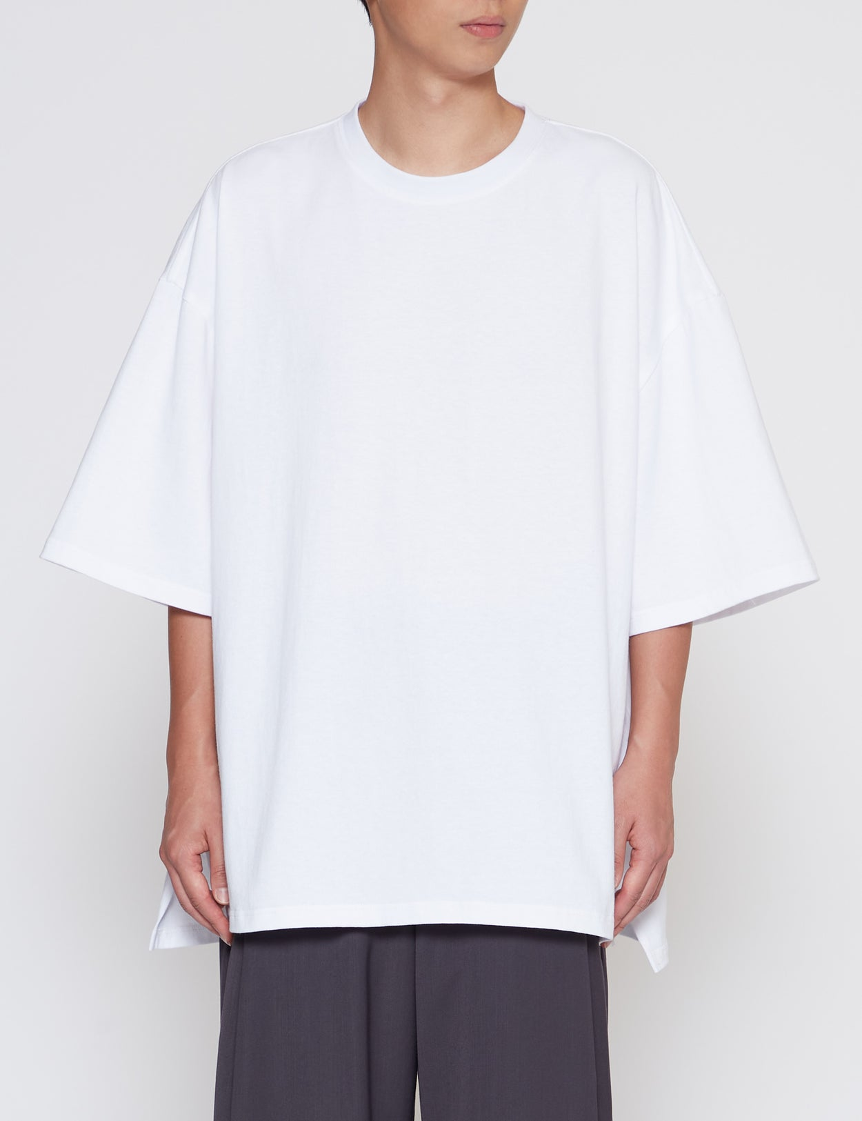 WHITE HEAVY WEIGHT SLIT BIG T-SHIRT