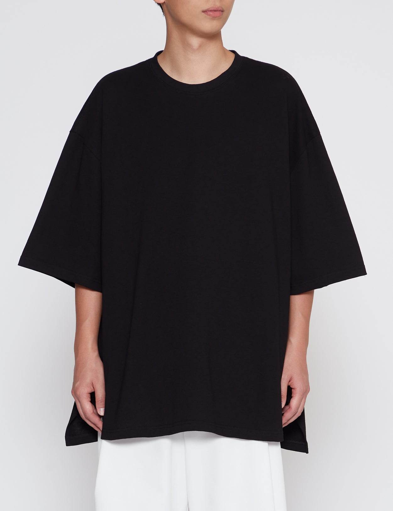 BLACK HEAVY WEIGHT SLIT BIG T-SHIRT