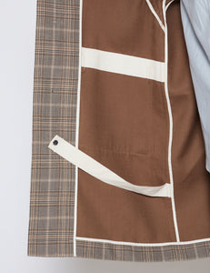 BROWN CHECKED DOUBLE CLOTH DUFFLE COAT