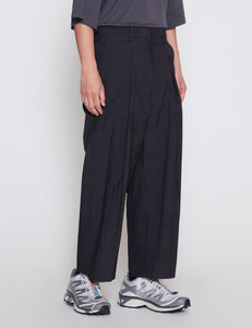 DARK NAVY CHECK COTTON SILK LINEN INVERTED PLEATS PANTS