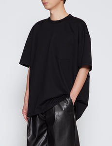 BLACK OVERSIZED COTTON POCKET TEE