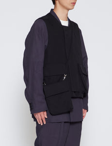 BLACK DETACHABLE POCKET TACTICAL VEST