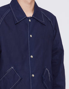 NAVY WAXED BASEBALL JACKET