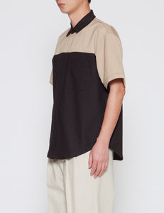 BEIGE KLOPMAN SHORT SLEEVE TUNE OVERSHIRT
