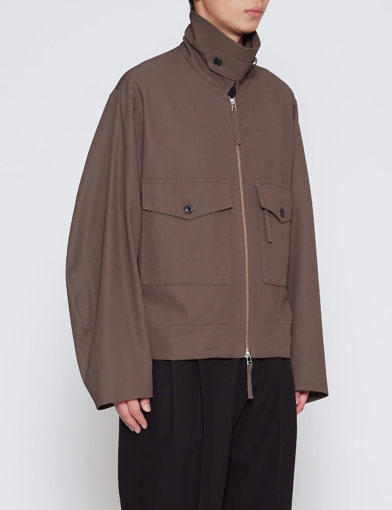 BROWN COTTON GABARDINE ZIP-UP BLOUSON