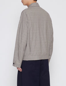 BEIGE CHECKED WOOL TROPICAL ZIP-UP BLOUSON