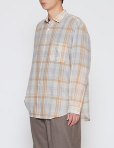 IVORY CHECKED STANDARD SHIRT