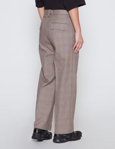 BEIGE CHECKED ONE TUCK EASY TAPERED PANTS
