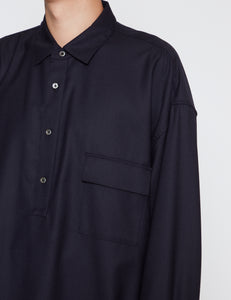 DARK NAVY OVERSIZED PULLOVER SHIRT