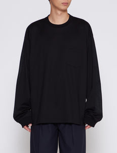 BLACK OVERSIZED LONG SLEEVE POCKET T-SHIRT