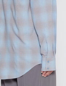 BLUE AND GREY CHECK WESTERN SHIRT