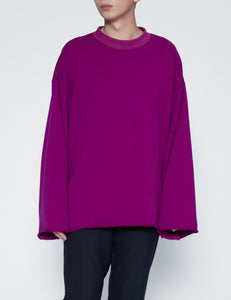 PURPLE OVERSIZED RAW EDGE CREWNECK SWEATSHIRT