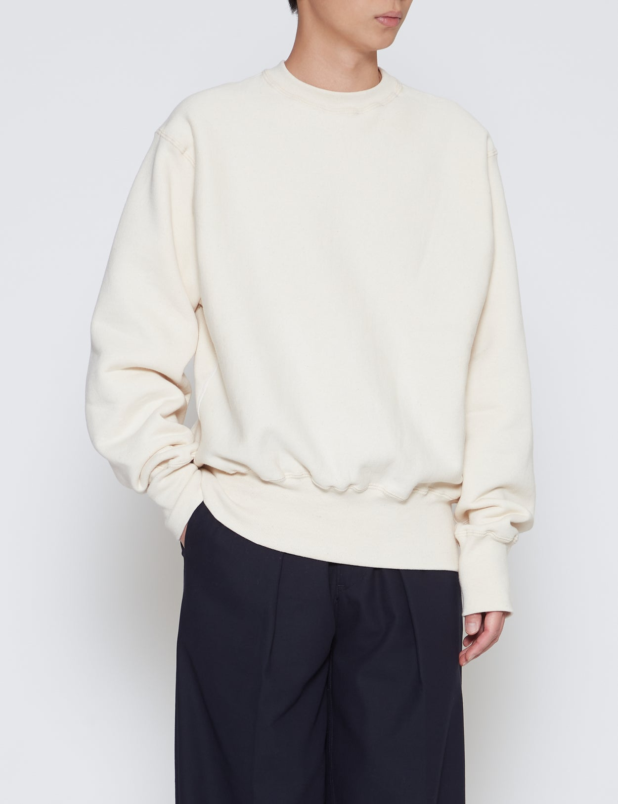 NATURAL CROSS KNIT HEAVYWEIGHT CREWNECK SWEATSHIRT
