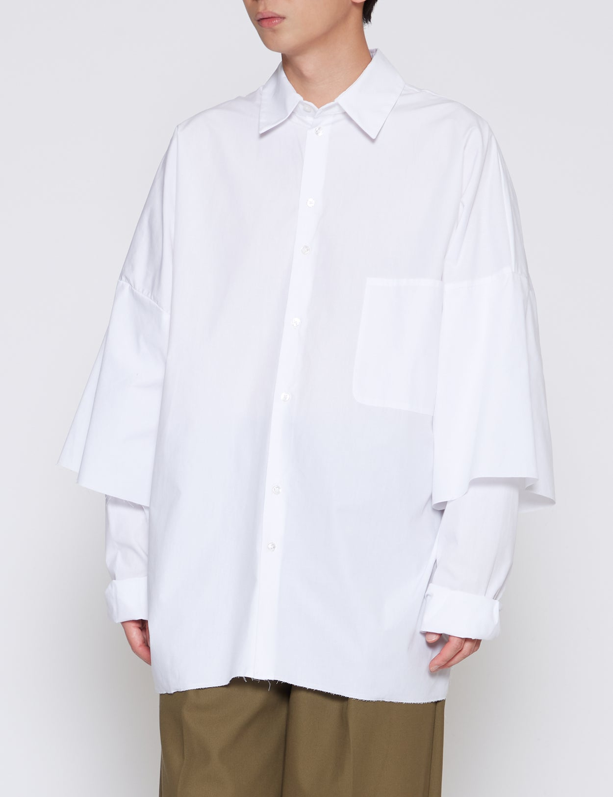WHITE DOUBLE SLEEVE SHIRT
