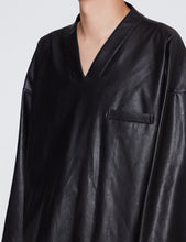 Load image into Gallery viewer, BLACK LEATHER OVERSIZED V-NECK PULLOVER